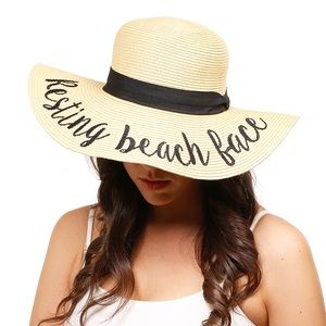 """Resting Beach Face"" Embroidery Straw Floppy Hat"